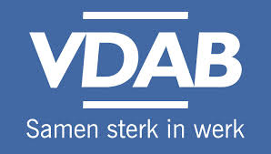 VDAB logo reverse letters wit achtergrond blauw